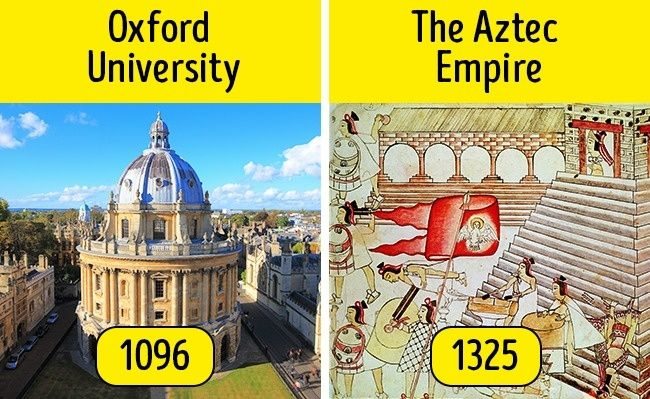 Oxford University is older than the Aztec Empire.