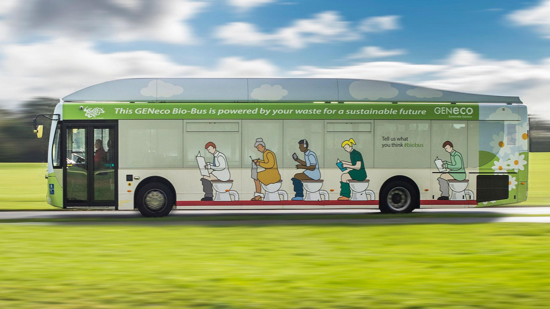 The 'Bio-Bus' is a bus service in the UK that is powered by poop.