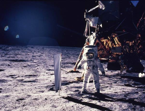 Apollo 11 was the spaceflight that landed the first humans on the Moon, Americans Neil Armstrong and Buzz Aldrin, on July 20, 1969, at 20:18 UTC. Armstrong became the first to step onto the lunar surface six hours later on July 21 at 02:56 UTC.