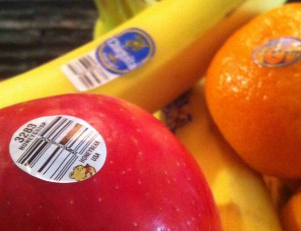According to the FDA, the stickers on fruit are edible.