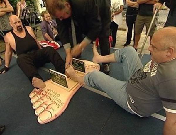 Toe wrestling is a national sport in Britain. It involves 2 opponents who lock feet and attempt to pin the other's foot down.