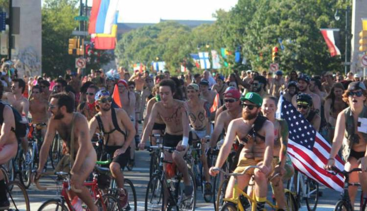 A cyclist was removed from the World Naked Bike Ride in Kent after being spotted with an erection from getting 'overexcited and aroused'.