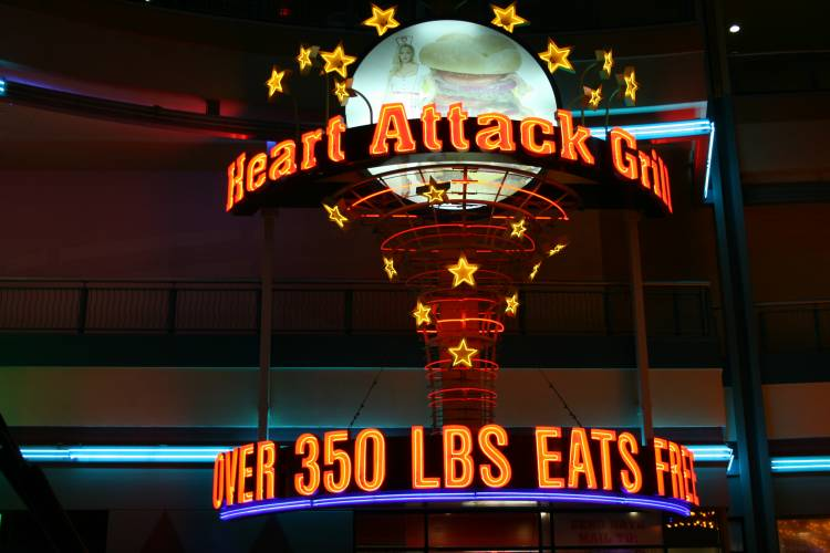 The 'Heart Attack Grill' is a restaurant in Las Vegas that offers free food to anyone who weighs more than 350 pounds.